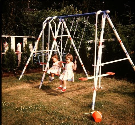 aluminum swing set backyard metal swingset 80 s and 90 s kid pinterest