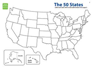 map the states: state abbreviations   worksheet