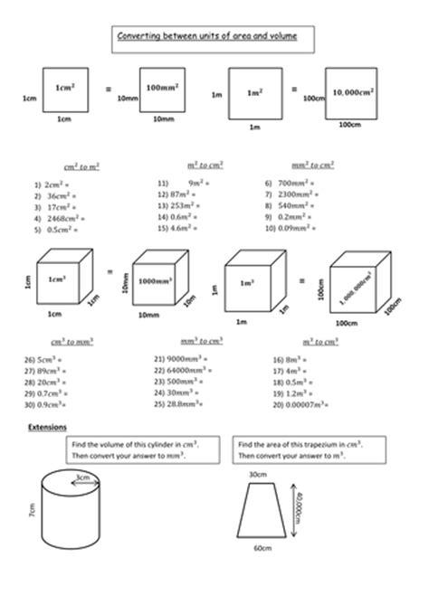 printable area width units converting between metric units worksheet worksheets
