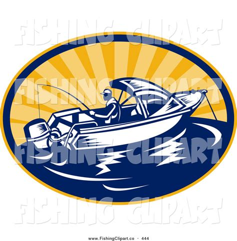 larger preview clip art of a fishing boat logo out at sea - Fishing Boat Logo