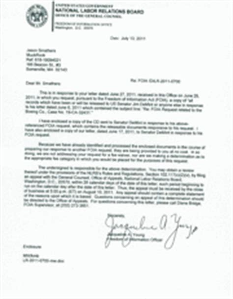 boeing cover letter records released to jim demint re boeing nlrb