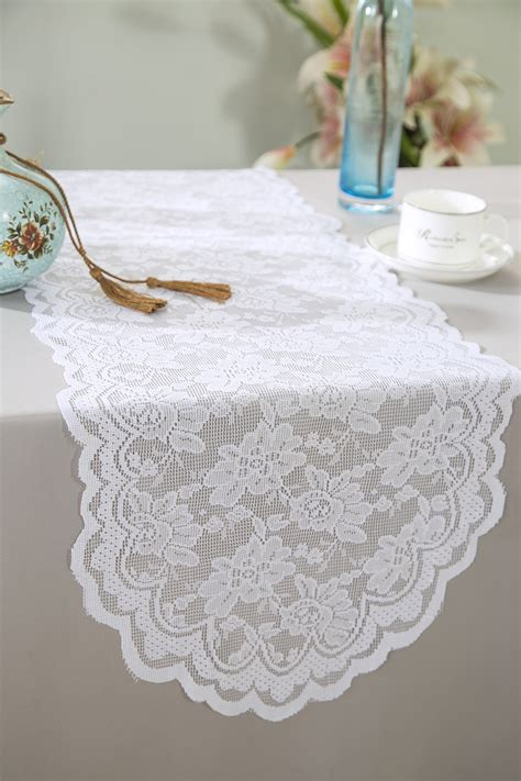 and white table runner white lace table runners wedding table runner