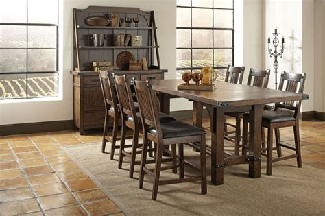 distressed dining room sets padima distressed cognac extendable counter height dining