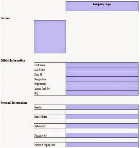 employee information template excel every bit of