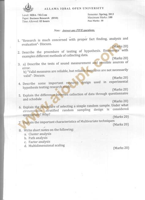 Business Research Methods Syllabus Mba by Business Research Code 8510 Mba Aiou Paper 2013