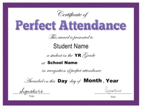 award certificate template for perfect attendance at