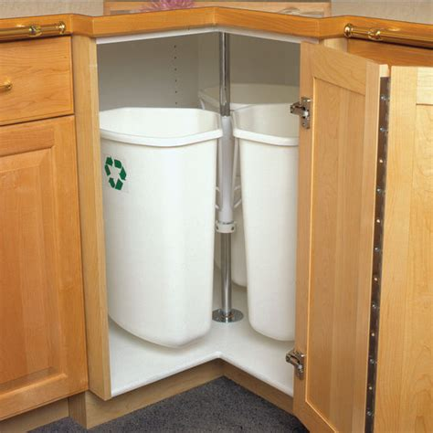 kitchen cabinet recycle bins hafele corner recycling center with three 32 quart 8