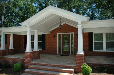 red brick porch porch transitional with front porch