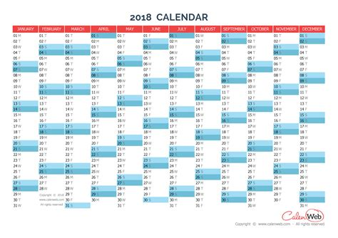 Calendar 2018 Horizontal Yearly Calendar Year 2018 Yearly Horizontal Planning