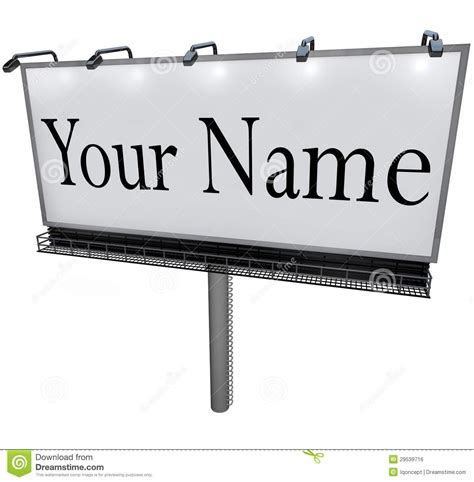 your name on billboard advertising marketing sign stock