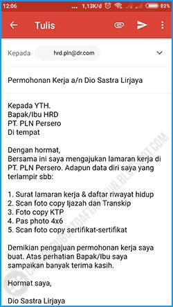 contoh body email lamaran kerja bahasa indonesia pc hp