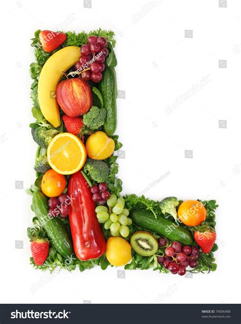 fruit 7 letters fruit vegetable alphabet letter l stock photo 74006488