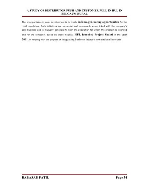 Mba Project Report On Hul by Distributor Push And Customer Pull Hul Project Report