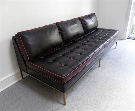 Harvey Probber Mid Century Modern Brass And Leather Day Mid Century Modern Sofa For Sale