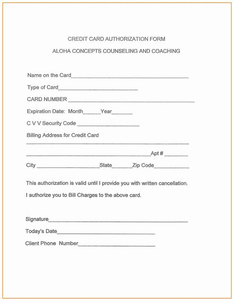 authorization letter for using the credit card credit card authorization form novasatfm tk
