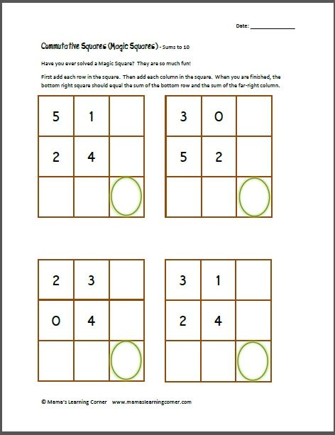 Easy Magic Squares Worksheet by Commutative Squares Magic Squares Sums To 10