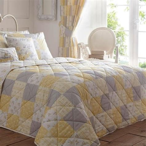 Patchwork Bed Throws - floral patchwork bed throw in yellow dreams drapes