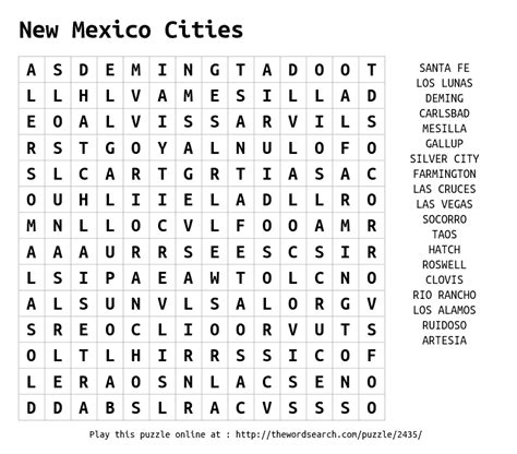 Mexico Search For Word Search On New Mexico Cities