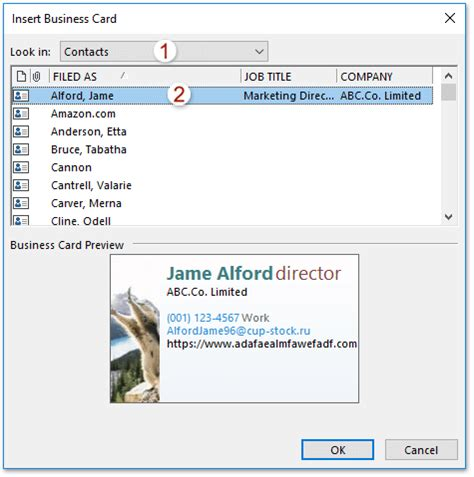 how to add business card to emails in outlook?