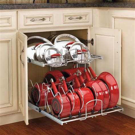 Shelf For Pots And Pans by Two Tier Pots Pans And Lids Organizer For Kitchen Cabinet