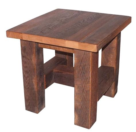 wooden accent tables grove reclaimed barn wood end table