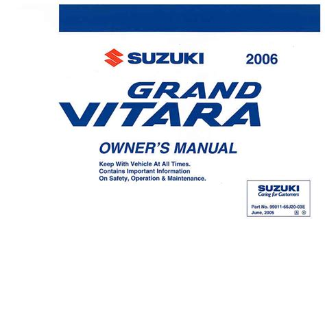 2006 suzuki grand vitara owners manual pdf