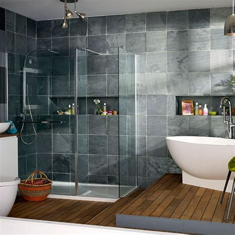 Modern Bathroom With Oak Flooring And Grey Tiles Modern Bathroom Tiles Uk
