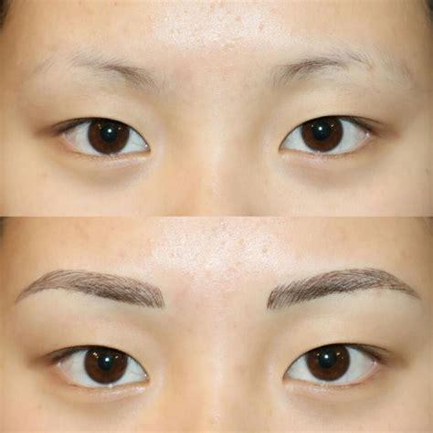 looking tattooed eyebrows procedure process