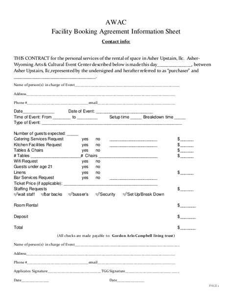 event space rental contract template awac rental agreement