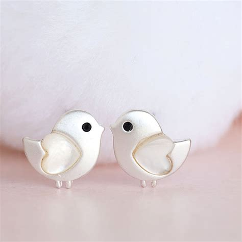 7 Cutest Earrings by Silver Baby Stud Earrings Tiny Bird Ear Post