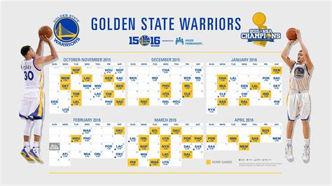 nba chion golden state warriors announce schedule for