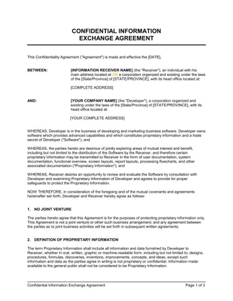 Proprietary Information Agreement Template
