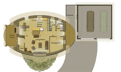 Beach Bungalow Floor Plans oval straw bale house soma earth