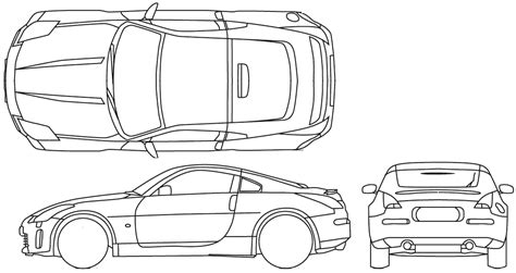 nissan 350z drawing car blueprints nissan 350z blueprints vector drawings