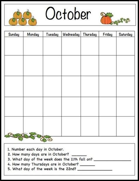 calendar template for children october learning calendar template for free