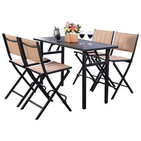 5 folding table set 5 pcs patio outdoor folding chairs rect table backyard