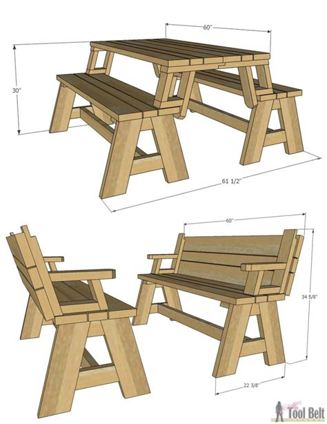 picnic bench plans convertible picnic table and bench her tool belt