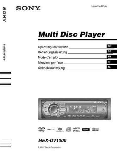 Sony Cd Player Mex Dv1000 User Guide Manualsonline Sony Mex Dv1000 Car Radio Manual For Free Now 2182a U Manual