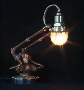 Artistic Lighting by Steampunk Styled Found Art Lamps By Cory Barkman Gadgetsin