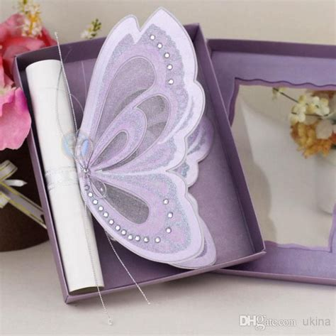 purple wedding invitations boxes purple elegant butterfly wedding invitations with blank