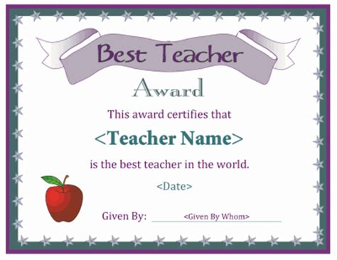 a free printable best teacher award certificate downloads