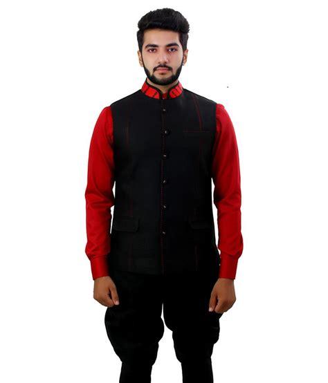 Etnic Black ethnic monarch black linen sleeveless nehru jacket buy