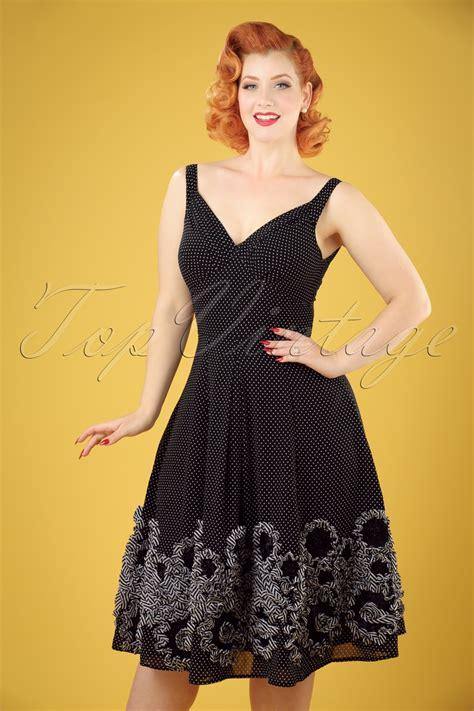Baju Retro Polkadot 50s polly polkadot swing dress in black