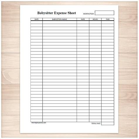 Printable Babysitter Expense Sheet Monthly Babysitter Or Babysitting Log Templates