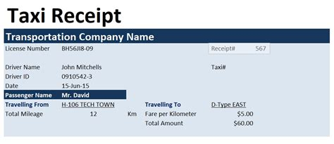 taxi invoice template format word and excel excel tmp taxi
