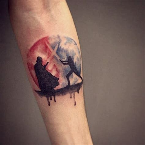 luke skywalker tattoo dramatic wars themed forearm with fighting