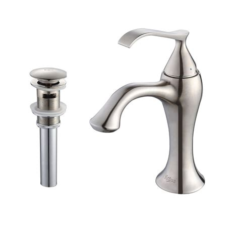 single hole bathroom faucet brushed nickel shop kraus ventus brushed nickel 1 handle single hole
