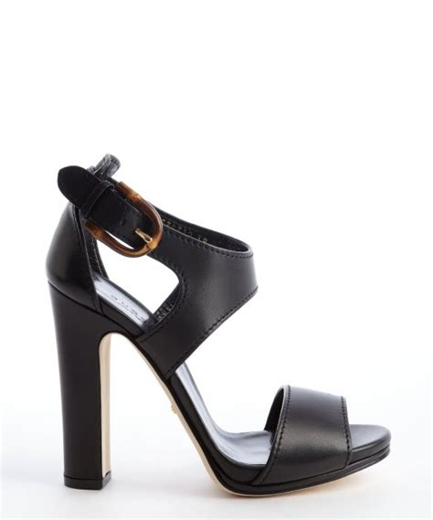 Gucci Buckle Sandals by Gucci Black Leather Bamboo Buckle Heel Sandals In Black Lyst
