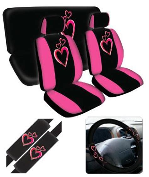 girly car seats covers hearts pink seat cover 11 pc set pink hearts