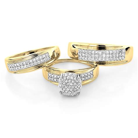 10k gold engagement trio his and hers wedding ring